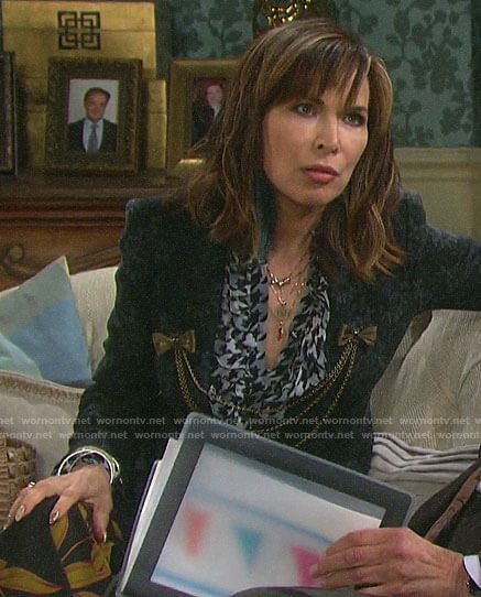 Kate's ruffled houndstooth blouse and damask print blazer on Days of our Lives