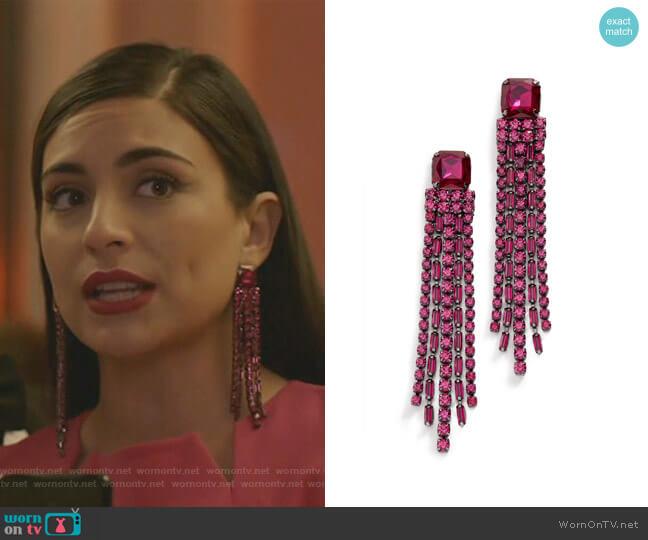 Glitzville Chain Fringe Earrings by Kate Spade worn by Cristal Jennings (Daniella Alonso) on Dynasty