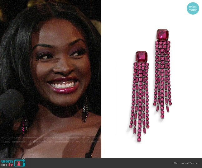 Kate Spade Glitzville Chain Fringe Earrings worn by Ana Hamilton (Loren Lott) on The Young & the Restless