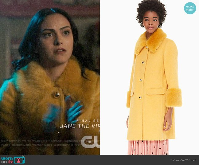 Kate Spade Fluffy Wool Faux Fur Trim Coat worn by Veronica Lodge (Camila Mendes) on Riverdale