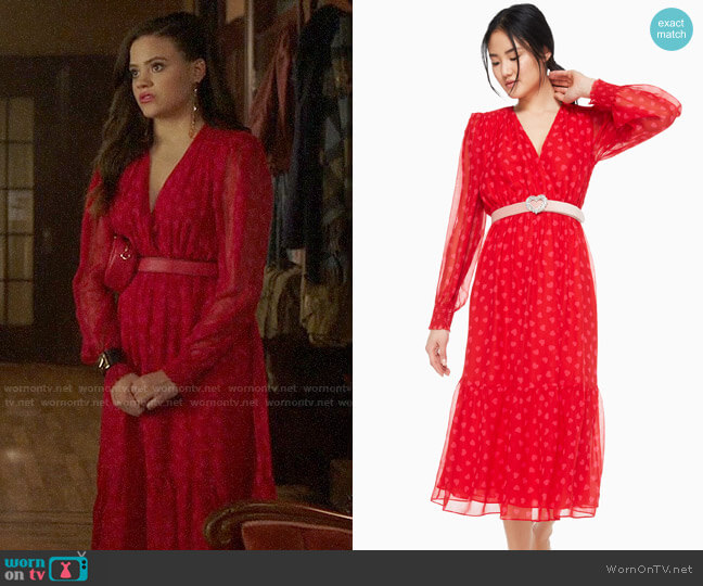 Kate Spade Heartbeat Silk Midi Dress worn by Maggie Vera (Sarah Jeffery) on Charmed