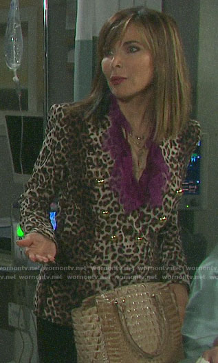 Kate's leopard print blazer and purple ruffled blouse on Days of our Lives