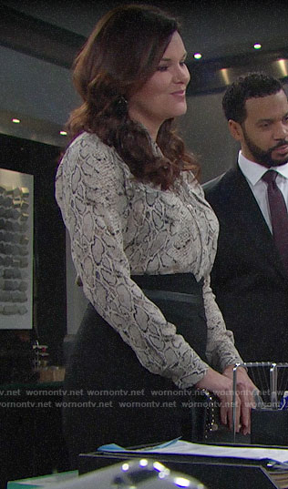 Katie's snake print blouse on The Bold and the Beautiful