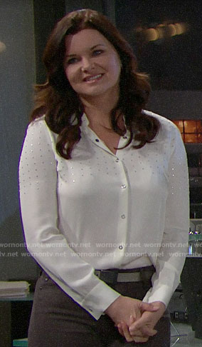 Katie's white studded blouse on The Bold and the Beautiful