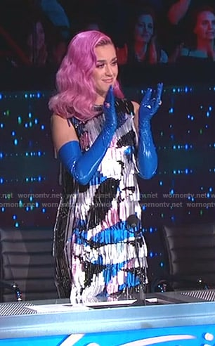 Katy's metallic fringe dress on American Idol