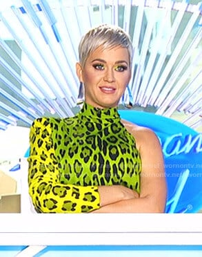 Katy's yellow leopard print dress on American Idol
