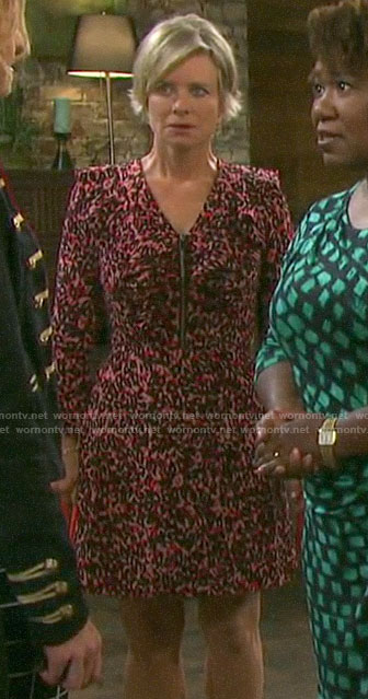 Kayla's pink ruffled leopard print dress on Days of our Lives