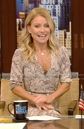 Kelly's snake print wrap dress on Live with Kelly and Ryan