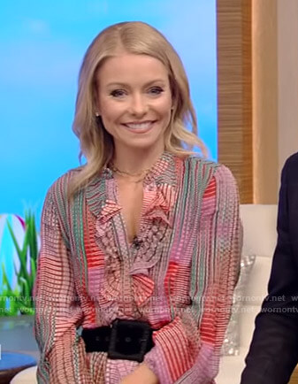 Kelly's check ruffled midi dress on Live with Kelly and Ryan