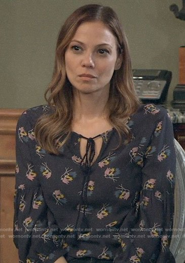 Kim's navy floral top on General Hospital