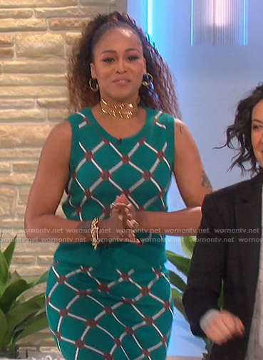 Eve's green knit top and skirt on The Talk