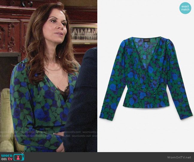 The Kooples Long Sleeved Top in Winter Night Print worn by Rebecca Barlow (Jennifer Taylor) on The Young & the Restless