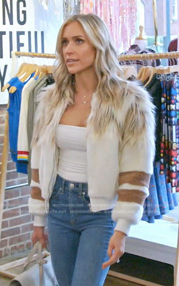Kristin's white fur jacket with stripes on Very Cavallari