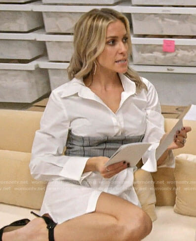 Kristin's white mini shirtdress with plaid corset on Very Cavallari