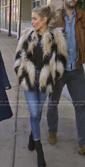Kristin's zig zag fur jacket on Very Cavallari
