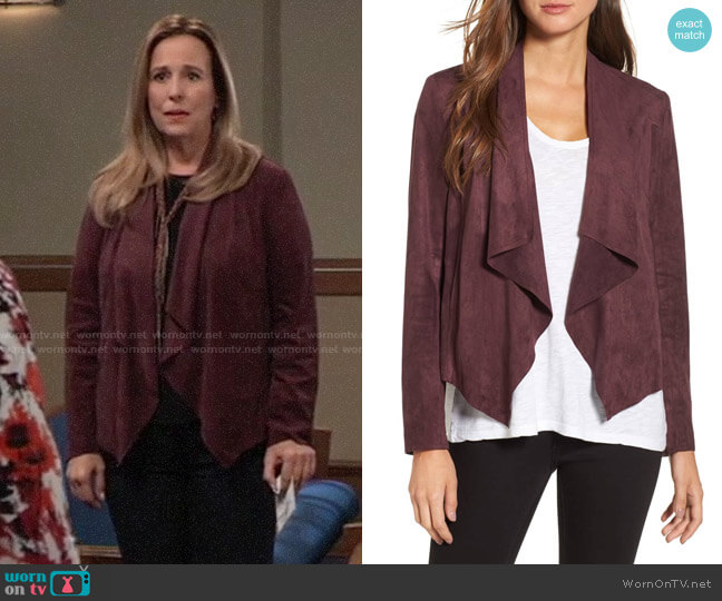 KUT from Kloth Tayanita Faux Suede Jacket worn by Laura Collins (Genie Francis) on General Hospital