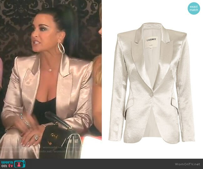 Chamberlain Silver Blazer by L'Agence worn by Kyle Richards  on The Real Housewives of Beverly Hills