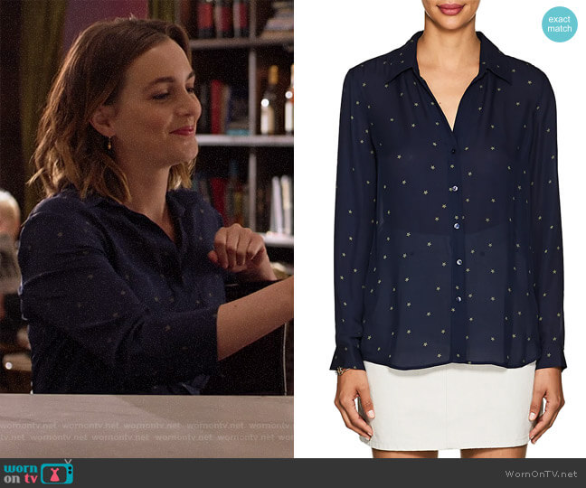 Nina Star-Print Silk Blouse by L'Agence worn by Angie (Leighton Meester) on Single Parents