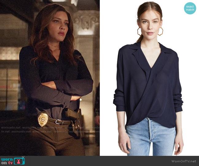 L'Agence Rita Blouse worn by Dinah Drake (Juliana Harkavy) on Arrow