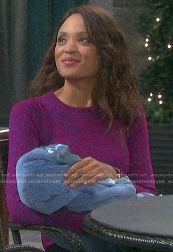 Lani's pink and blue marled top on Days of our Lives