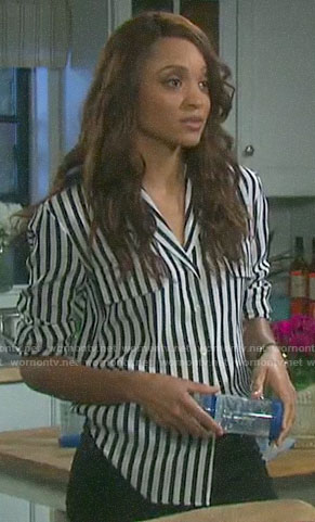 Lani's striped button down shirt on Days of our Lives