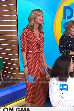 Lara's orange printed tie neck dress on Good Morning America