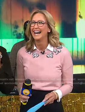 Lara's pink gemstone sweater on Good Morning America