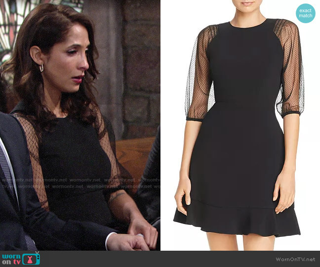 Laundry by Shelli Segal Mesh Sleeve Fit-and-Flare Dress worn by Lily Winters (Christel Khalil) on The Young & the Restless