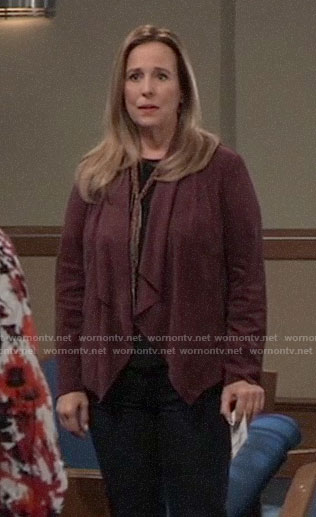 Laura's burgundy suede jacket on General Hospital