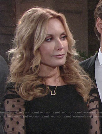 Lauren's black polka dot mesh sleeve dress on The Young and the Restless