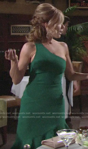 Lauren's green one-shoulder dress on The Young and the Restless