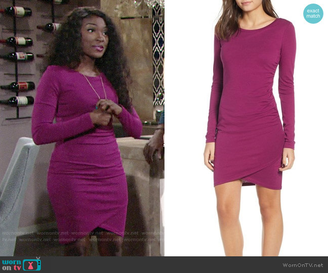 Leith Ruched Long Sleeve Dress worn by Ana Hamilton (Loren Lott) on The Young & the Restless
