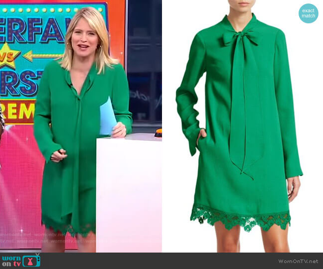 Cloque Neck Tie Lace Hem Dress by Lela Rose worn by Sara Haines  on Good Morning America