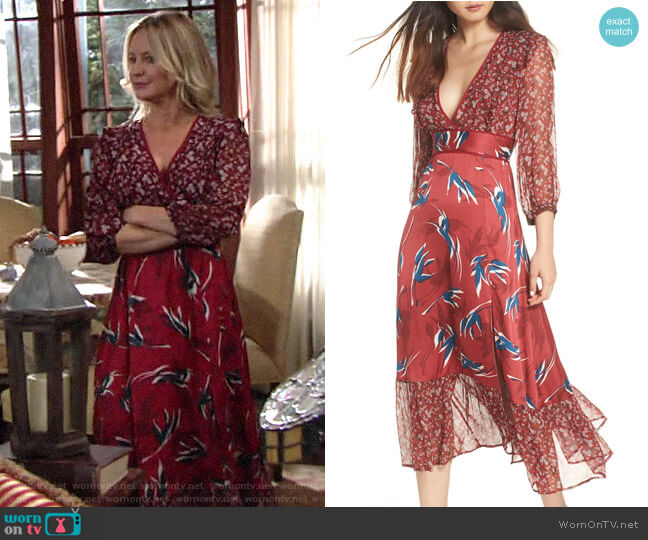 Lenon Mixed Print Midi Dress worn by Sharon Collins (Sharon Case) on The Young & the Restless