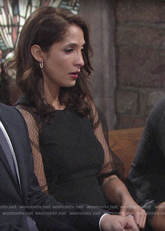 Lily's black mesh sleeve dress on The Young and the Restless