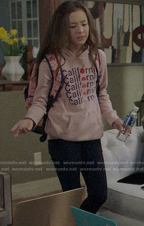 Lily's California graphic hoodie on Modern Family