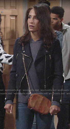 Lily's navy suede moto jacket on The Young and the Restless