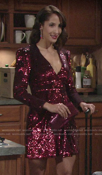 Lily's red sequin dress on The Young and the Restless