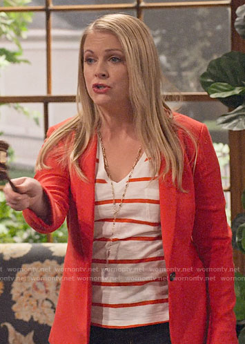 Liz's red striped tee and blazer on No Good Nick