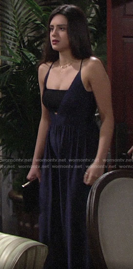 Lola's navy blue wide leg jumpsuit on The Young and the Restless