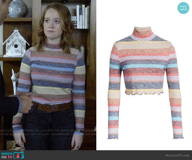 Love,Fire Stripe Mock Neck Top worn by Abby Hammond (Liv Hewson) on Santa Clarita Diet