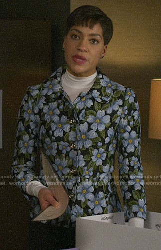 Lucca's blue floral jacket on The Good Fight