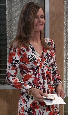 Lucy's red printed long sleeve dress on General Hospital