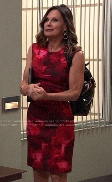 Lucy's red floral sheath dress on General Hospital