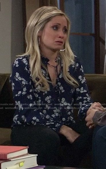 Lulu's blue floral top on General Hospital
