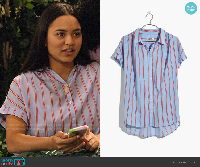 Madewell Central Shirt in Atwater Stripe worn by Xuan (Tiana Le) on No Good Nick