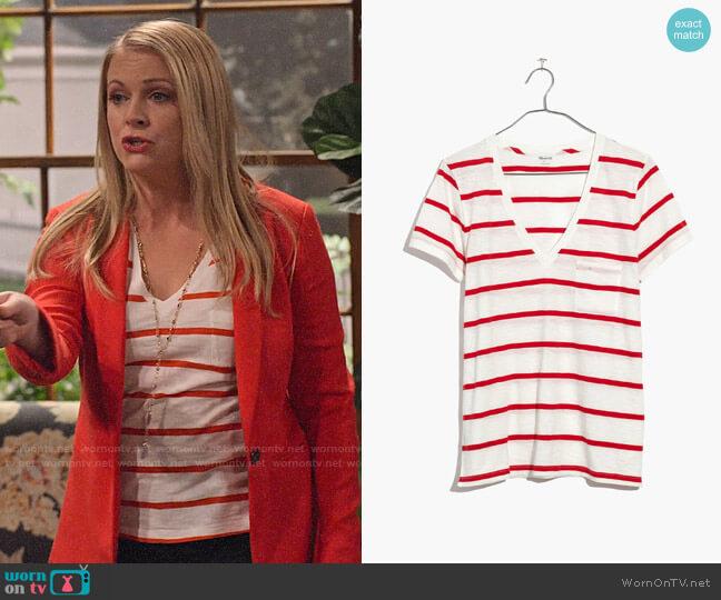 Madewell Whisper Cotton V-neck Tee in Creston Stripe worn by Liz (Melissa Joan Hart) on No Good Nick