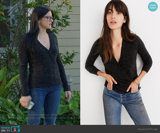 Madewell Donegal Wrap-Front Pullover Sweater in Coziest Yarn worn by Alex Dunphy (Ariel Winter) on Modern Family