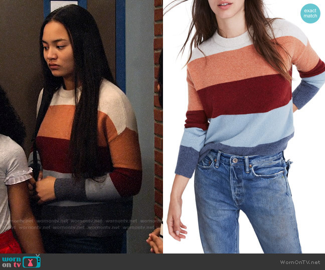 Madewell Crofton Stripe Pullover Sweater worn by Xuan (Tiana Le) on No Good Nick