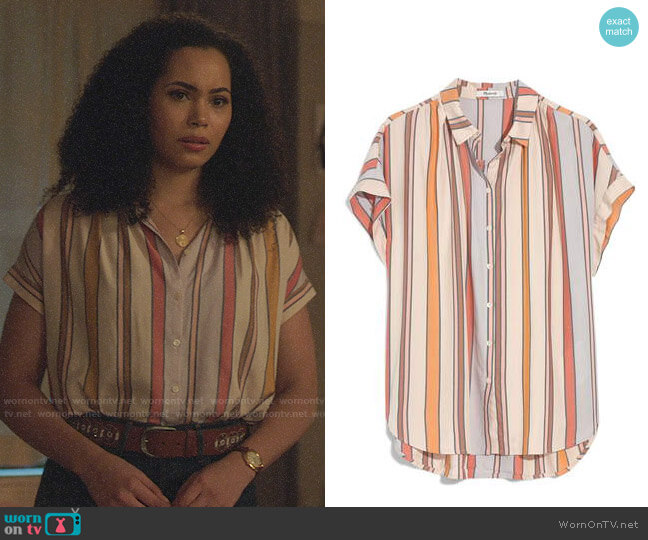 Madewell Central Shirt in Towel Stripe worn by Macy Vaughn (Madeleine Mantock) on Charmed